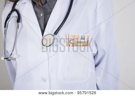 Wad Of Euros In Doctor Pocket