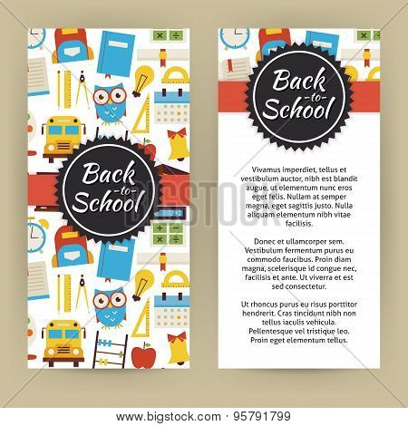 Vector Flyer Template Of Flat Design Back To School And Education Objects And Elements