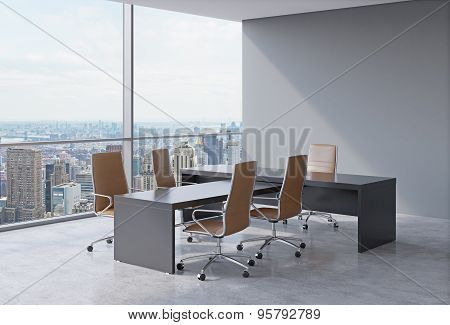 Modern Office Interior With Huge Windows And New York Panoramic View. Brown Leather On The Chairs An