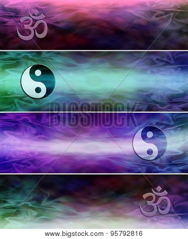 4 different Om Yin Yang Symbol holistic website banners