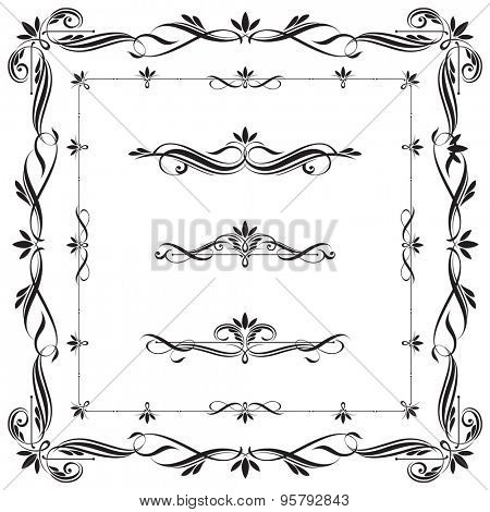 Set of Calligraphic frames and elements. This image is a vector illustration.
