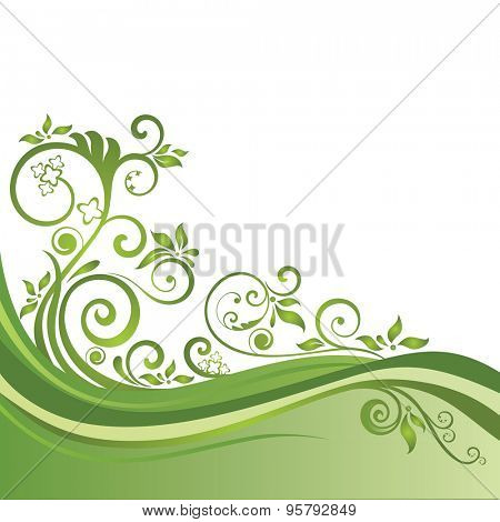 Green floral banner isolated on white. This image is a vector illustration.