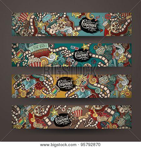 Vector doodles cinema movie design banner templates