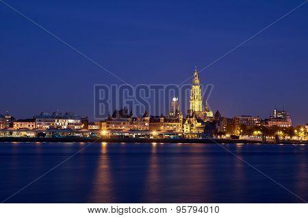 Night View Over City Of Antwerp