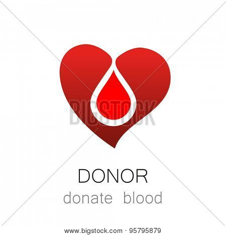Donor - Donate blood. Medicine Cardiology Donor Healthy concept icon. World blood donor day - 14 June. Heart and blood drop illustration.