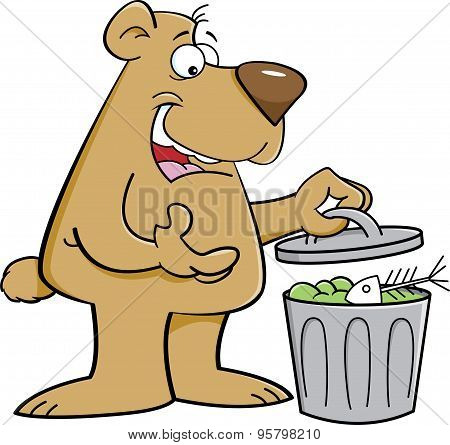 Cartoon bear looking in a garbage can.