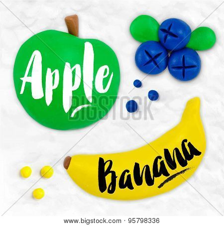 Plasticine fruits apple