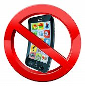 Turn off mobile phones sign of a black mobile phone crossed out in red circle poster