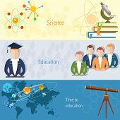 Education concept: students teachers chemistry physics microscope online training science study vector banners poster