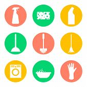 Vector cleaning products flat icons. Sponge and washing machine and mop and cleaner. poster