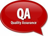 Speech bubble illustration of information technology acronym abbreviation term definition QA Quality Assurance poster