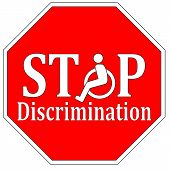 Stop discriminating against people with disabilities like wheelchair user poster