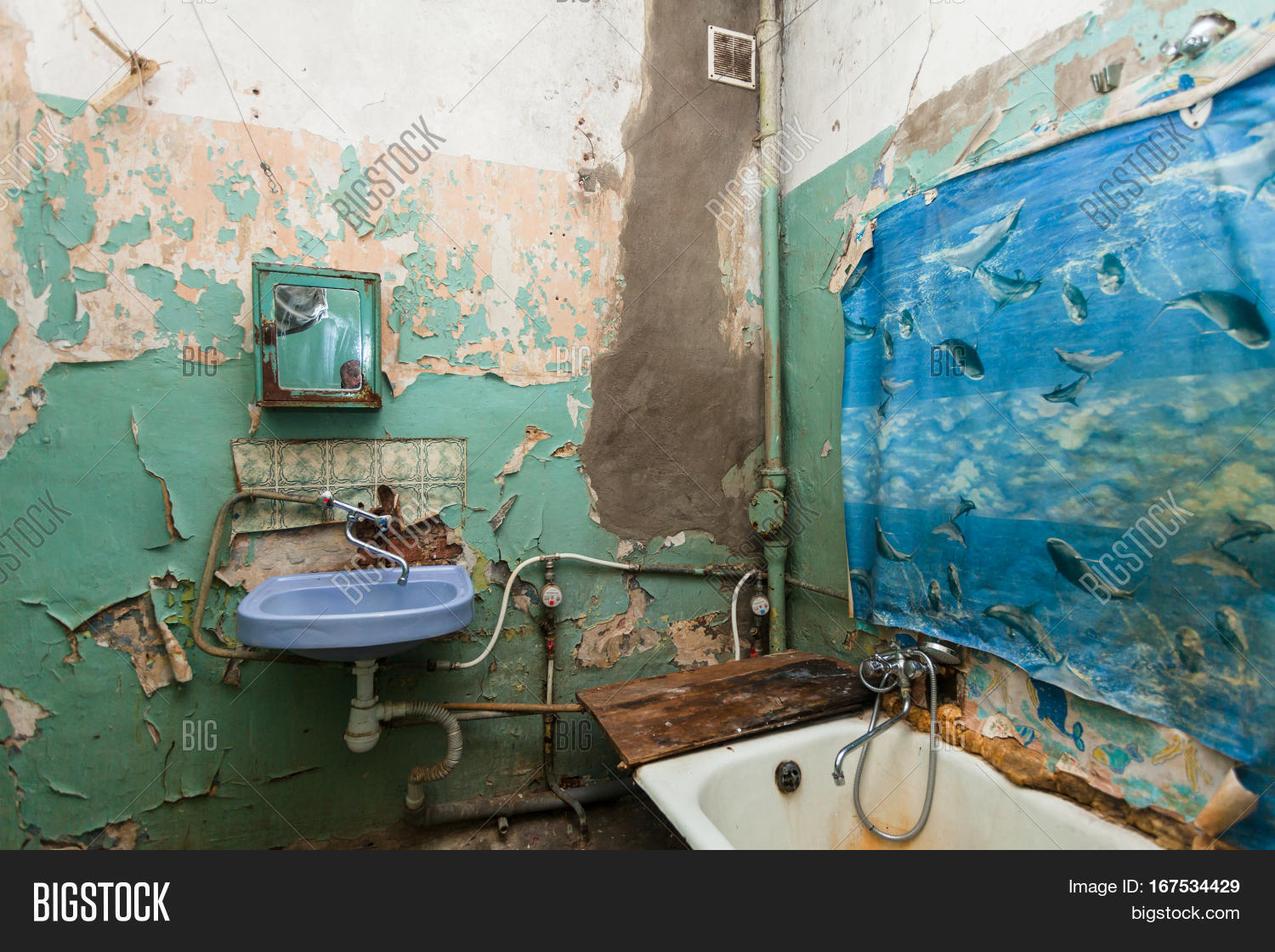 Dirty bathroom is in the temporary apartment for living (existence) refugees