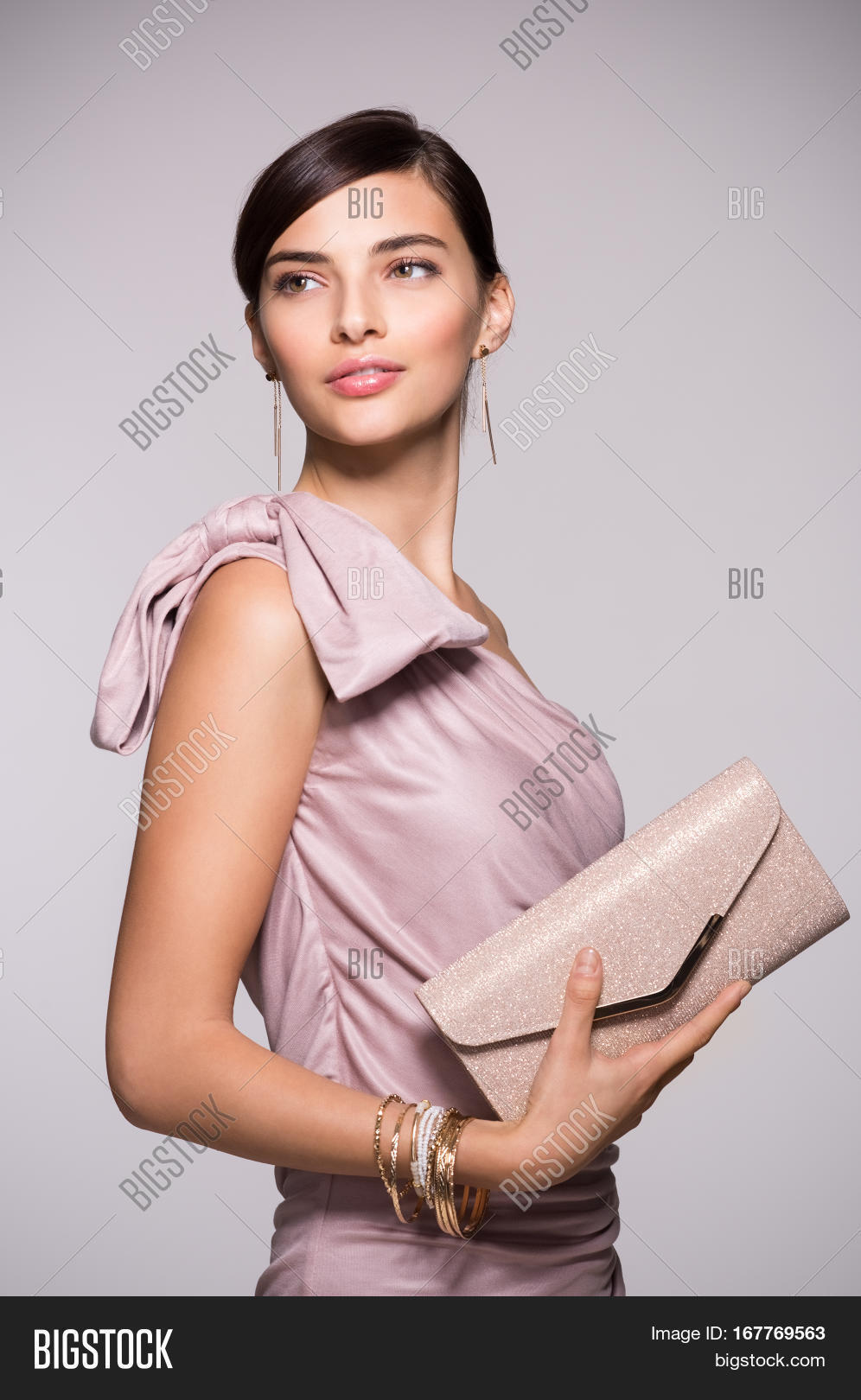 Young Beautiful Woman Image Photo Free Trial Bigstock Elegant Fashion Clutch Brown In Pink Dress Holding And Looking Away Chic
