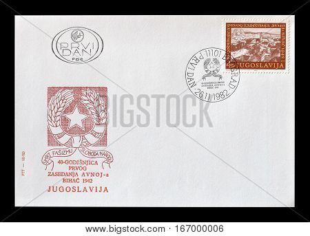YUGOSLAVIA - CIRCA 1982 : Cancelled First day cover letter printed by Yugoslavia, that shows Bihac.
