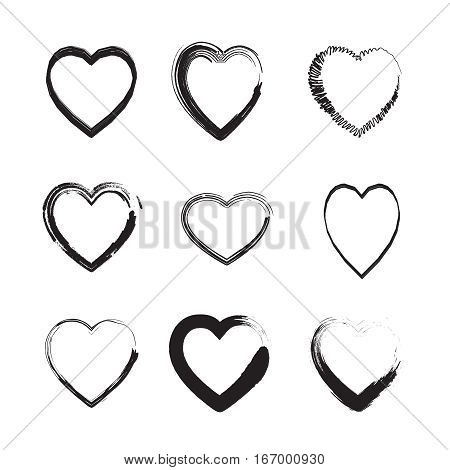 Valentine's day black heart brush drawing shapes pattern, romantic background with hand drawn hearts on white background. Romantic Holiday pattern Vector print. Invitation, Anniversary, wedding card, celebration, advertising. Heart different lines set