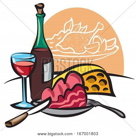 illustration of dinner with wine cooked meat cheese and main dish with baked chicken
