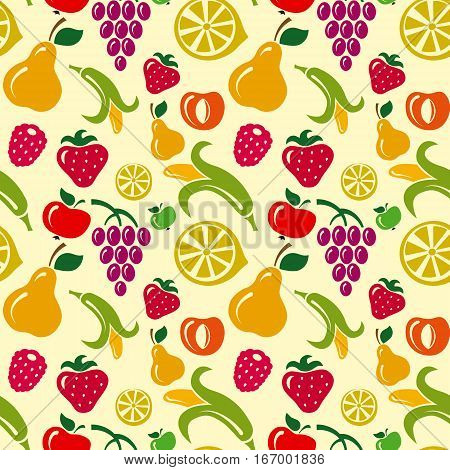 illustration of fruits background and seamless pattern