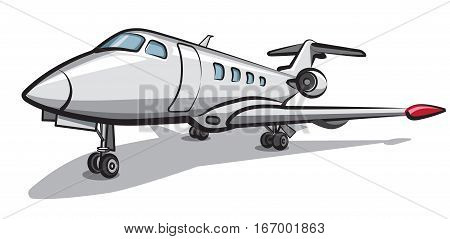 illustration of private jet airplane parked in airport
