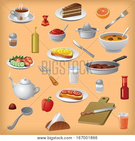 illustration of different meals dishes and cutlery