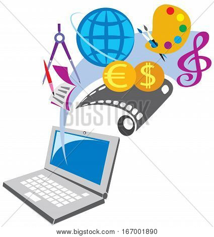 concept illustration of pc applications and media