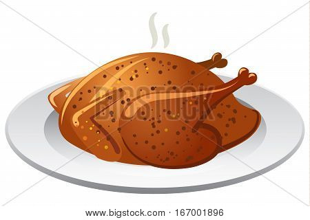 illustration of hot baked roasted chicken on olate