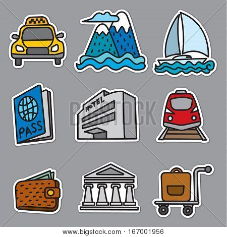 travel and resort stickers and badges of cruise and journey