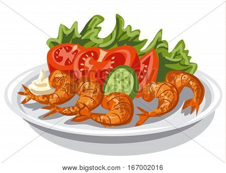illustration of cooked shrimps with vegetables salad on plate