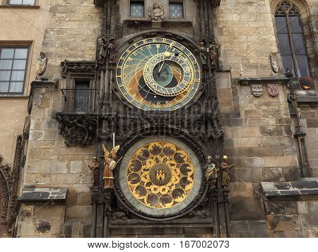 Installed in 1410, the medieval Astronomical Clock is located on the southern wall of Old Town City Hall, Prague, Czech Republic.