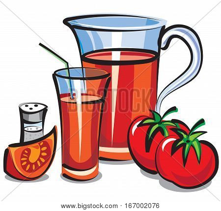 illustration of jar with fresh tomato juice and tomatoes
