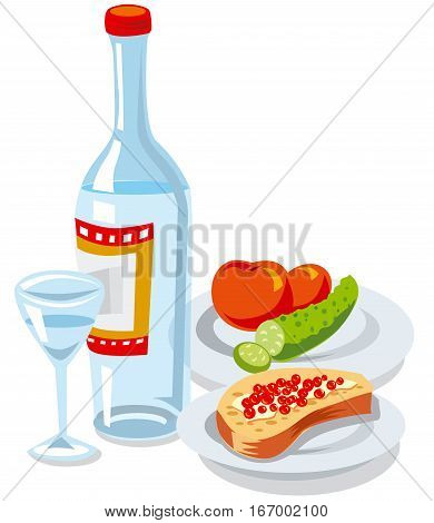 illustration of russian vodka bottle and caviar