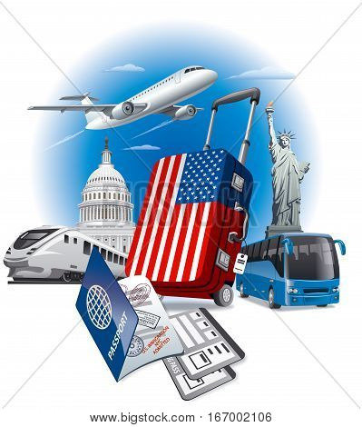 concept illustration of tour in USA and american landmarks
