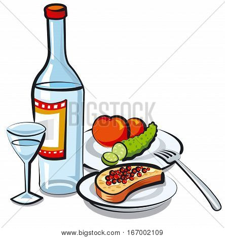 illustration of russian vodka bottle with caviar