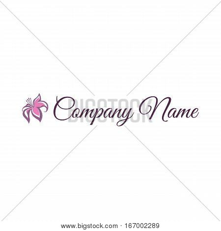 Vector illustration of Logo with ext and flower on white background. Logotype for business. Can be used for Beauty Salon, Cosmetics.