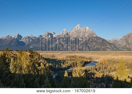 Teton Fall Landscape from Snake River Overlook