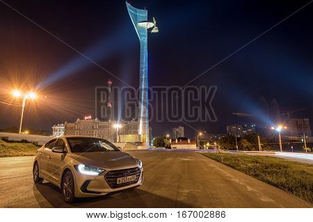 ROSTOV-ON-DON, RUSSIA - CIRCA DECEMBER, 2016: Brand new motor cars Hyundai Elantra