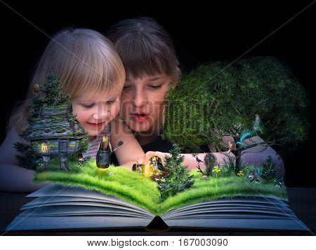 Children see animated tale on the pages of an open book. A magical fairy mermaid a hut on chicken legs the devil and bag of bones