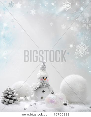 Christmas background with stars and snowflakes snow balls snowman