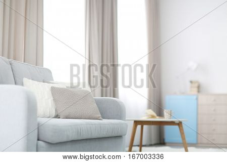 New cozy couch with pillows in modern room interior
