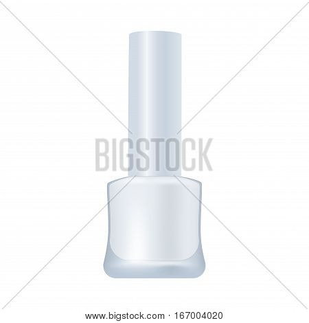 Nail enamel package isolated on white background. Unbrand realistic cosmetic product. Bottle mock up vector illustration