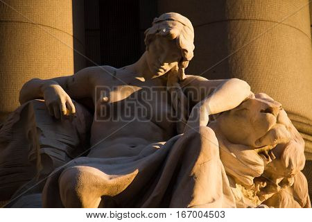 Africa, The Four Continents by Daniel Chester, with shade of light, Alexander Hamilton U.S. Custom House, Bowling Green, New York in close up view