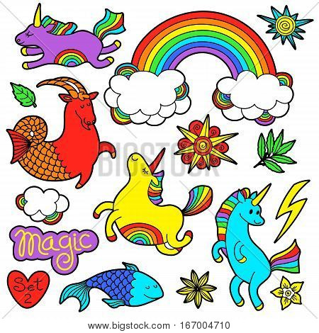 Fashion patch badge elements in cartoon 80s-90s comic style. Set modern trend doodle pop art sketch with rainbow unicorns. Vector clip art illustration isolated. poster