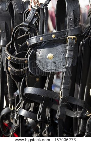 Handmade Black Colored Leather Harnesses For Riders For Sale At Farmers Market