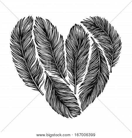 Hand Drawn Vector Illustration -  Feathers In Shape Of Heart. Happy Valentine Day. Perfect For Invit