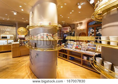 Barcelona Spain - January 02 2017: The store inside the Casa Batllo by famous architect Antoni Gaudi located on the Passeig de Gracia street in Barcelona