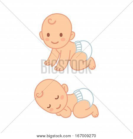 Cute cartoon baby in diaper sleeping and crawling. Vector newborn illustration set.