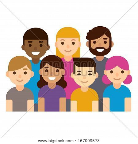 Diverse group of people students or workplace. Cute and simple flat cartoon style. Isolated vector illustration.