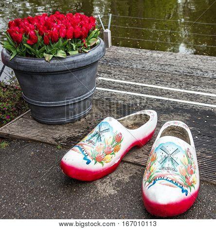 traditional Dutch shoes in park Keukenhof - largest flower garden in Europe, Holland.