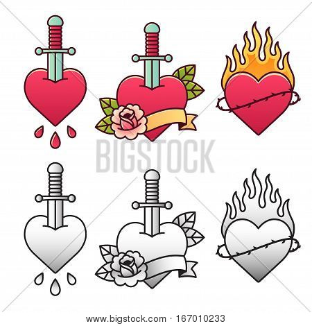 Traditional heart tattoo set with dagger rose ribbon and fire. Classic American oldschool flash tattoos in color and black and white.