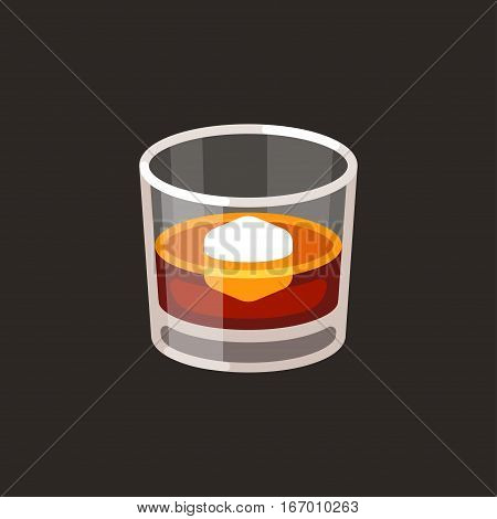 Whiskey on the rocks icon. Scotch brandy glass with ice cube vector illustration in simple flat cartoon style.